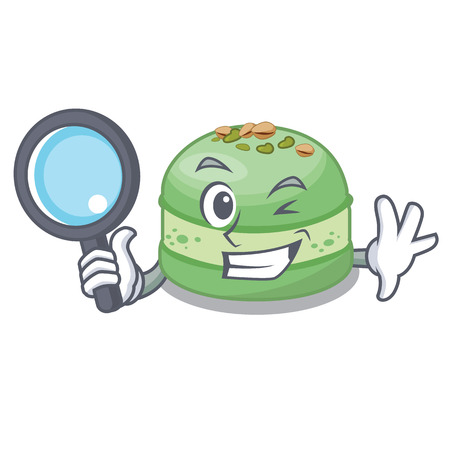 Detective pistachio cake in the cartoon fridge Illustration