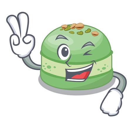 Two finger pistachio cake in the cartoon fridge vector illustration