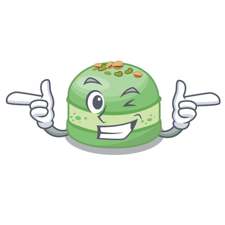 Wink pistachio cake in the cartoon fridge vector illustration