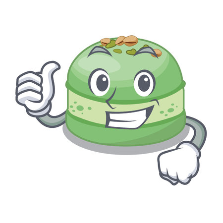 Thumbs up pistachio cake in the cartoon fridge vector illustration