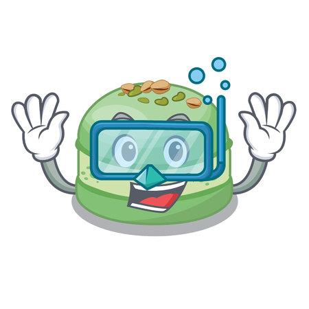 Diving pistachio cake in the cartoon fridge vector illustration