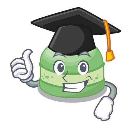 Graduation pistachio cake in the cartoon fridge vector illustration