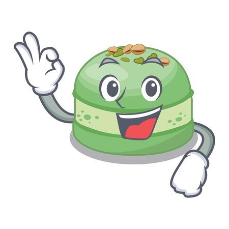 Okay pistachio cake in the cartoon fridge vector illustration Illustration