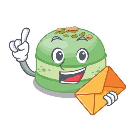 With envelope pistachio cake in the cartoon fridge vector illustration