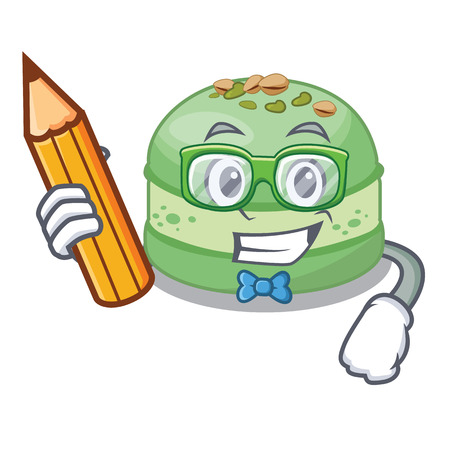 Student pistachio cake in the cartoon fridge vector illustration