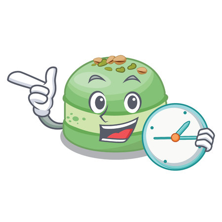 With clock pistachio cake in the cartoon fridge