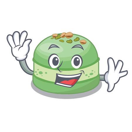 Waving pistachio cake in the cartoon fridge vector illustration