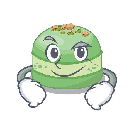 Smirking pistachio cake in the cartoon fridge