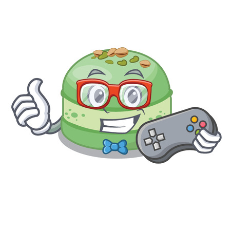 Gamer pistachio cake isolated in the character vector illustration