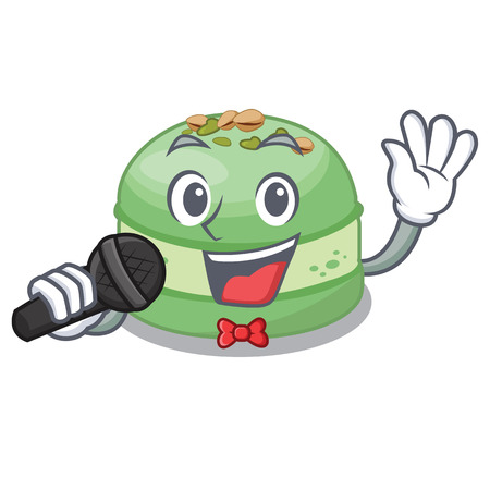Singing pistachio cake isolated in the character vector illustration