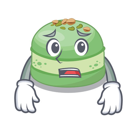 Afraid pistachio cake isolated in the character vector illustration