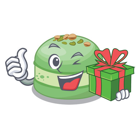 With gift pistachio cake isolated in the character vector illustration