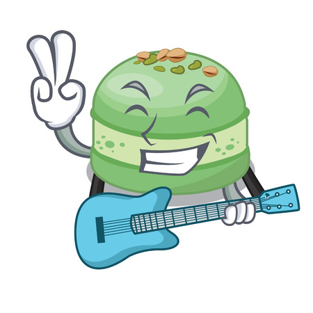 With guitar pistachio cake isolated in the character vector illustration