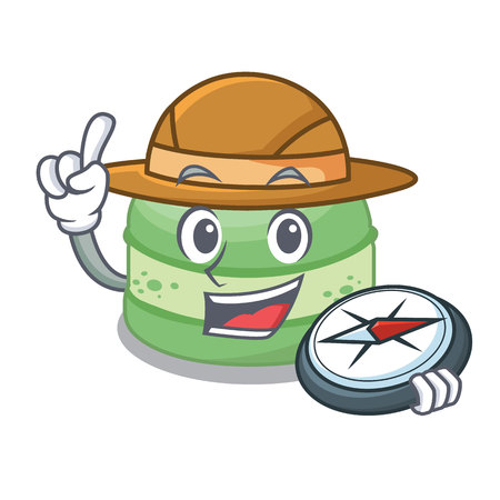 Explorer pistachio cake isolated in the character vector illustration