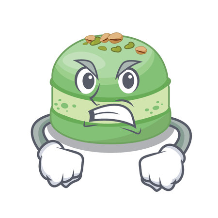 Angry pistachio cake isolated in the character vector illustration