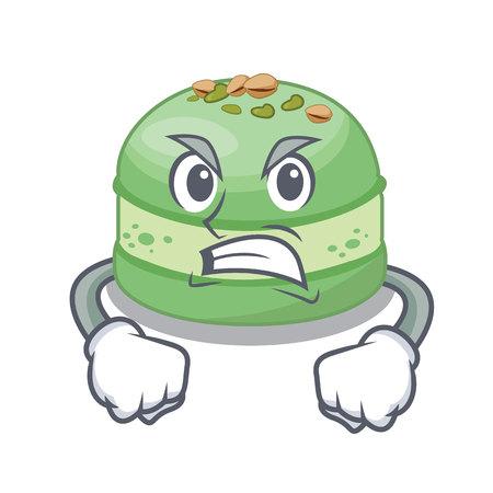 Wütender Pistazienkuchen isoliert in der Charaktervektorillustration