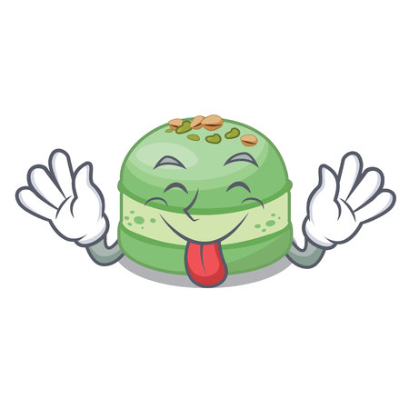 Tongue out pistachio cake in the mascot shape vector illustration Ilustrace
