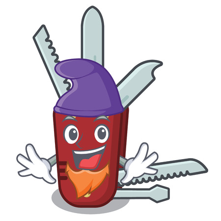Elf penknife isolated with in the mascot vector illustration