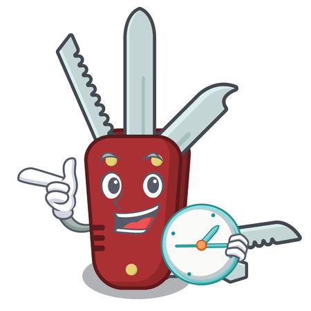 With clock penknife in the a character shape vector illustration