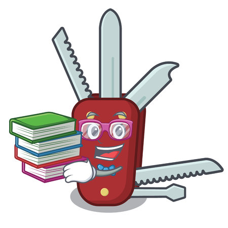 Student with book penknife in the a cartoon bag vector illustration