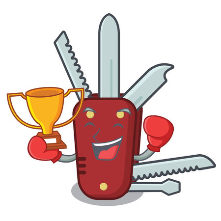 Boxing winner penknife in the a cartoon bag vector illustration
