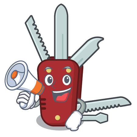 With megaphone penknife isolated with in the mascot vector illustration Vectores