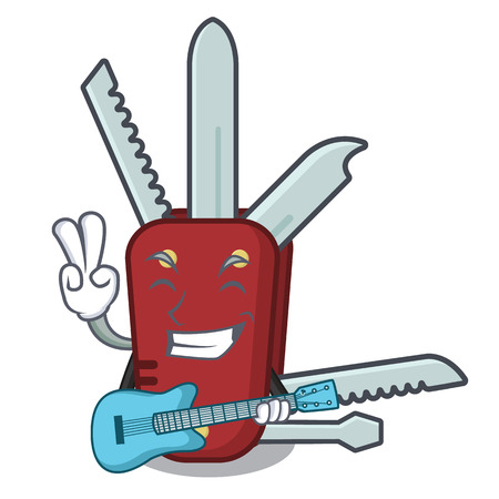 With guitar penknife cartoon on a wooden table vector illustration Illusztráció