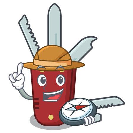 Explorer penknife cartoon on a wooden table vector illustration