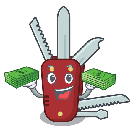 With money bag penknife cartoon on a wooden table vector illustration