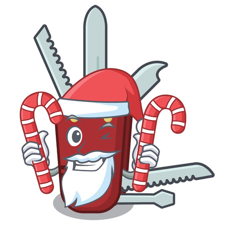 Santa with candy penknife in the a cartoon bag vector illustration
