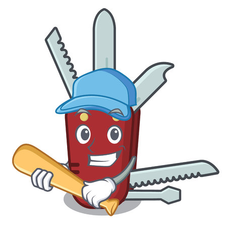 Playing baseball penknife isolated with in the mascot vector illustration