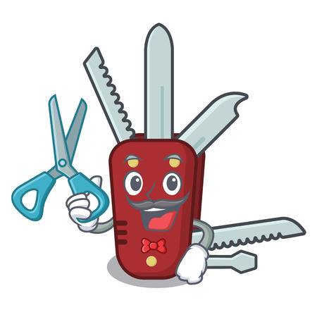 Barber penknife isolated with in the mascot vector illustration