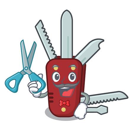 Canif de coiffeur isolé avec dans l'illustration vectorielle de mascotte
