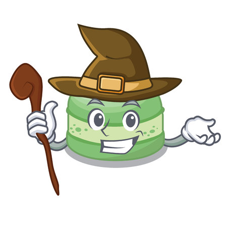Witch pistachio cake isolated in the character vector illustration Illustration