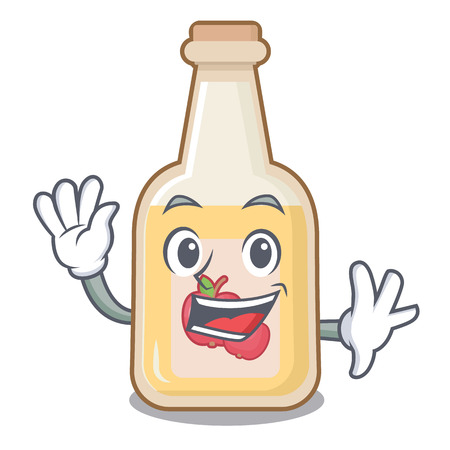 Waving apple cider isolated with the mascot