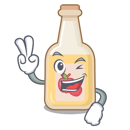 Two finger apple cider isolated with the mascot Illustration