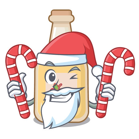 Santa with candy bottle apple cider above cartoon table 向量圖像