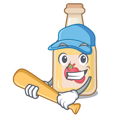 Playing baseball cartoon apple cider in a glass Stock Illustratie