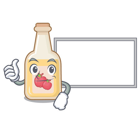 Thumbs up with board cartoon apple cider in a glass