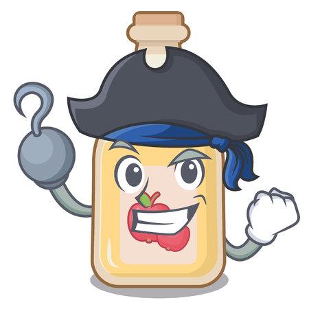 Pirate cartoon apple cider in a glass Stock Illustratie