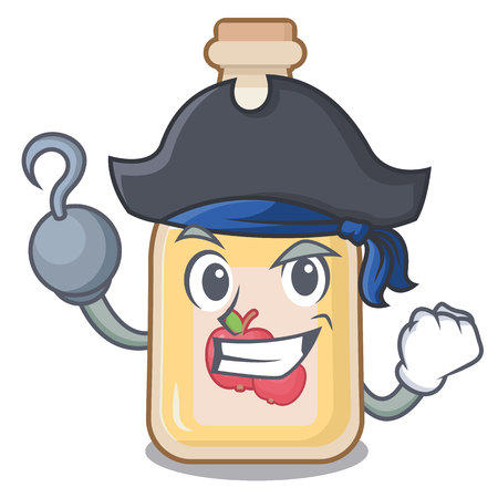 Pirate cartoon apple cider in a glass Illustration