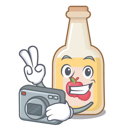 Photographer apple cider in the character shape  イラスト・ベクター素材
