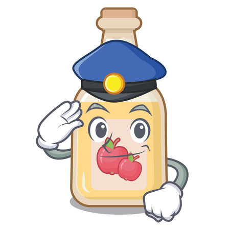 Police cartoon apple cider in a glass