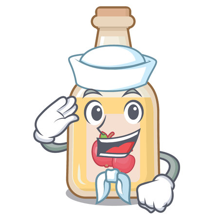 Sailor cartoon apple cider in a glass Stock Illustratie
