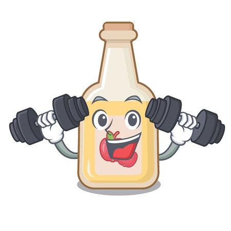 Fitness cartoon apple cider in a glass Stock Illustratie