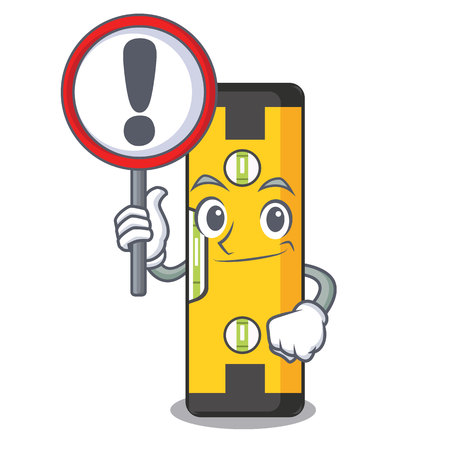 With sign spirit level isolated in the cartoon vector illustration