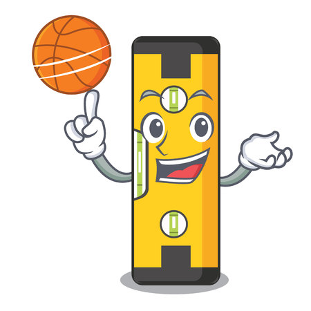 With basketball spirit level isolated in the cartoon vector illustration