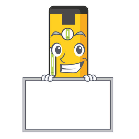 Grinning with board spirit level isolated in the cartoon Stock Illustratie