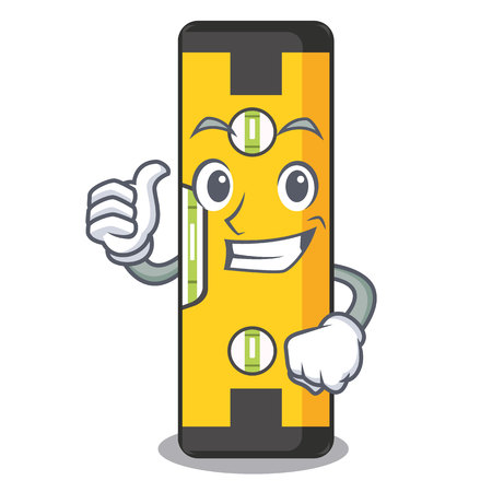Thumbs up spirit level in the mascot shape vector illustration