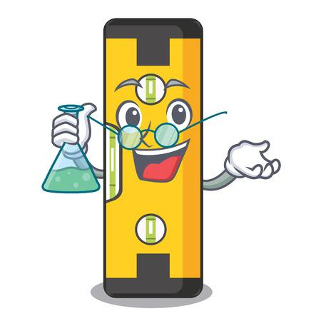 Professor spirit level in the mascot shape vector illustration